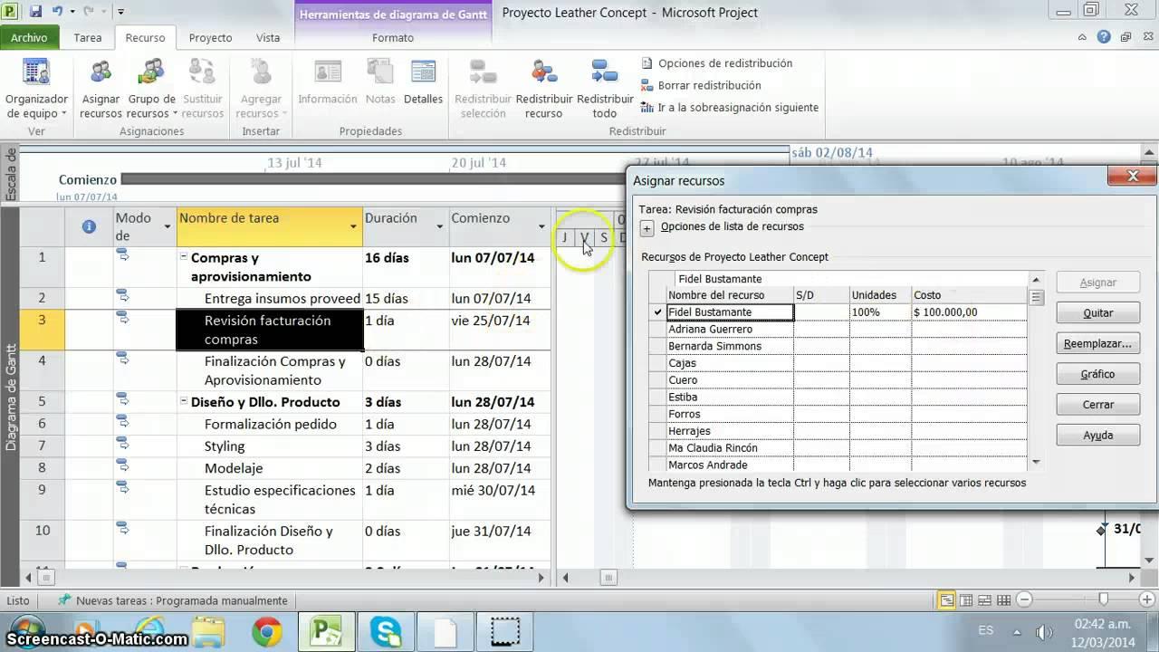Ms. Project - Asignar Recursos (Trabajo, Material y Costo) - YouTube