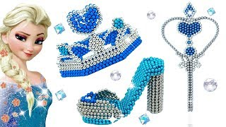 DIY HOW TO MAKE FROZEN ELSA PRINCESS WAND HIGH HEELS CROWN FROM MAGNETIC BALLS 💖 Doll Crafts