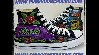 Rikki Rockett Freehand Painted Sneakers - Custom Poison Chucks - Time Lapse