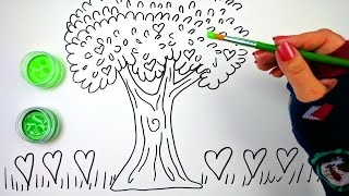 How to Draw Color and Paint a Big Beautiful Heart Tree Coloring Pages for Kids to learn drawing