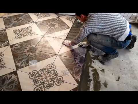 Облицовка стен плиткой по диагонали  Часть 1