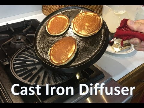Cast Iron Cooking 🍳 Sad Iron Heat Diffuser on Round Griddle Pancake Skillet – Teach a Man to Fish