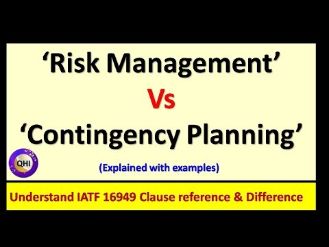 'Risk Management' VS 'Contingency Planning'