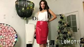Элегантная кожаная юбка-карандаш красного цвета. Видео обзор