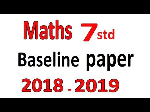 Maths Baseline Paper 7std 2018 - 2019 || 7STD Maths Baseline Paper 2018- 2019