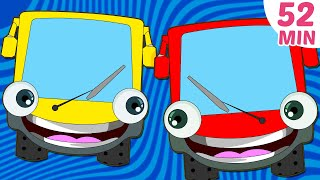 Repeat youtube video Wheels on The Bus Plus More Nursery Rhymes Collection | 52 Minutes Compilation by HooplaKidz