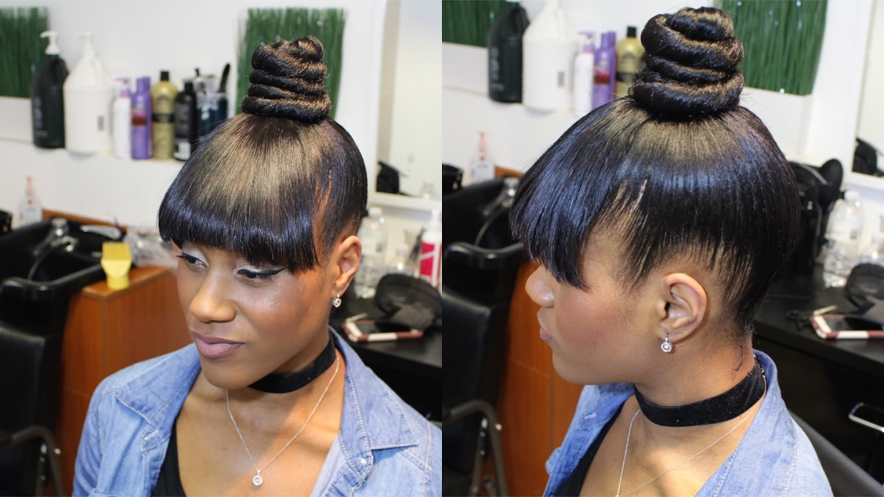how to do a topknot ninja bun with faux bangs - youtube