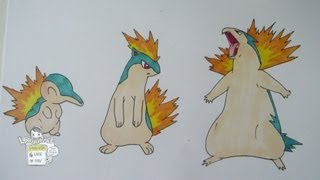 How to draw Pokemon: No.155 Cyndaquil, No.156 Quilava, No.157 Typhlosion