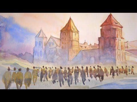 The Mir Castle Minsk Belarus many people #watercolor #painting #Belarus #Minsk #people #Mir Castle