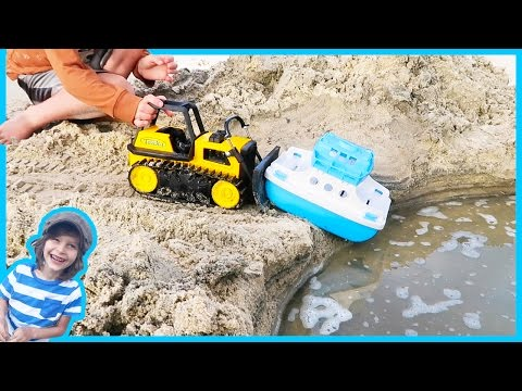 Construction Truck Videos For Children | Bulldozer Launches Ferry Boat