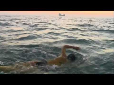 Chloe swimming the English Channel
