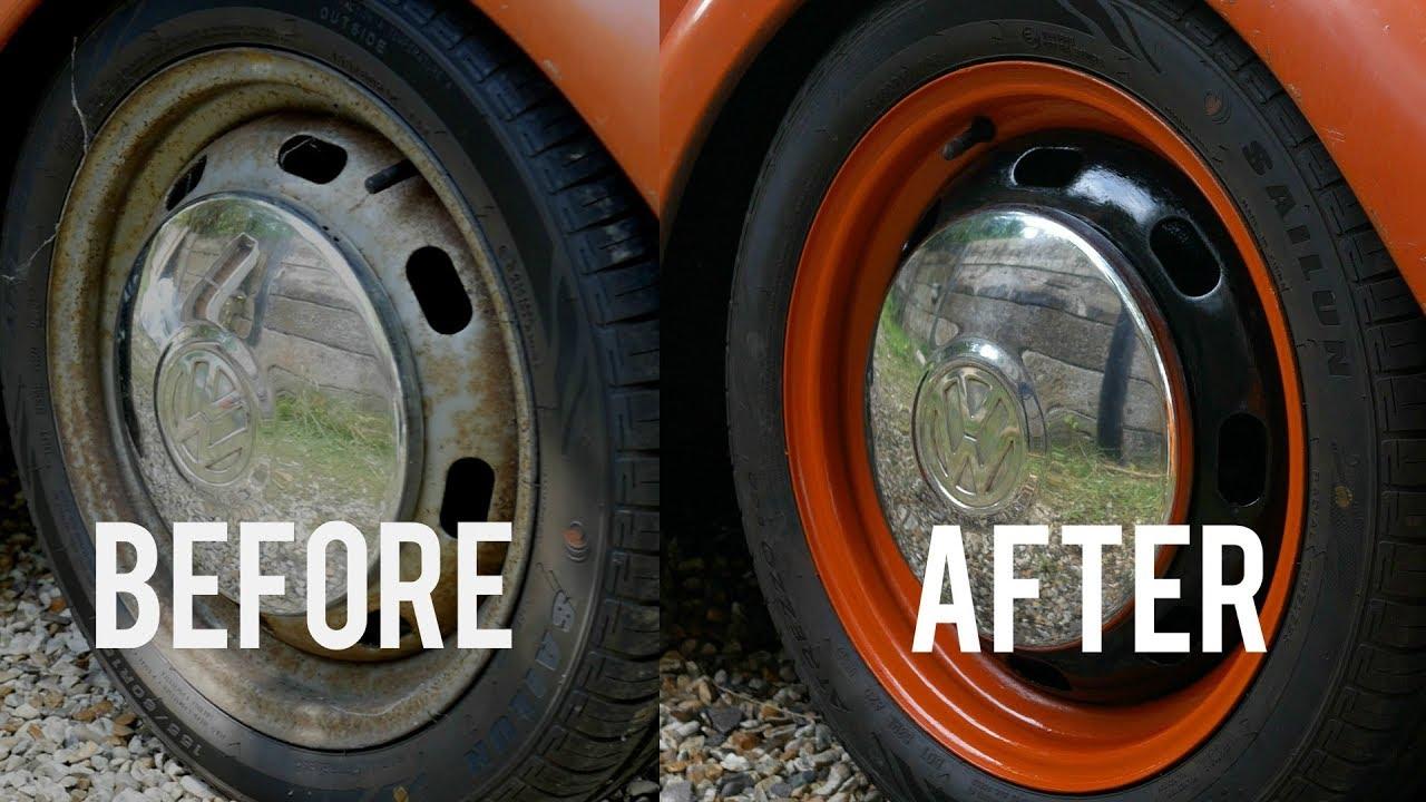 how i painted my custom bug wheels vw beetle vlog ep3 [ 1280 x 720 Pixel ]