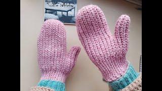 Crochet mittens. How to crochet knit look mittens. Crochet slip stitch mittens