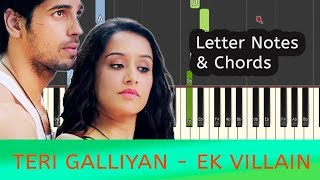 Teri Galliyan Piano Notes & Tutorial with Chords [EASY]