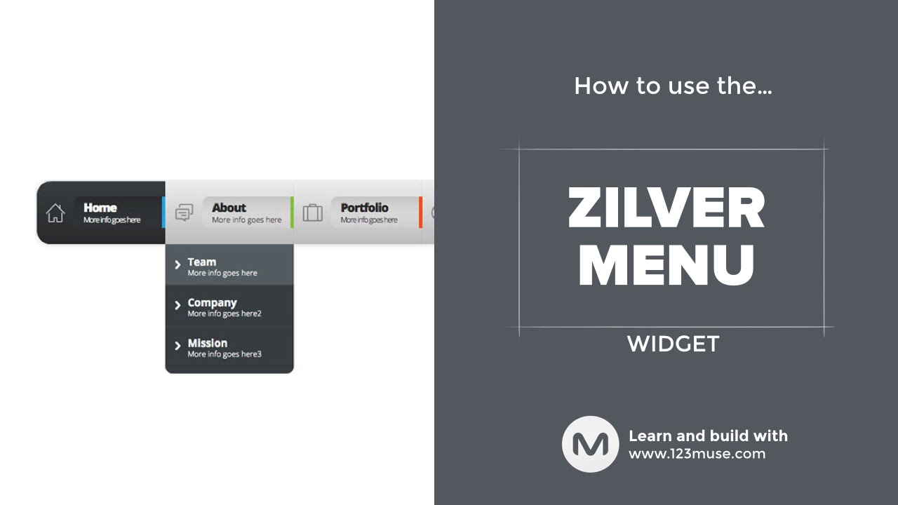 The Zilver Menu Widget for Adobe Muse from http://www 123muse com