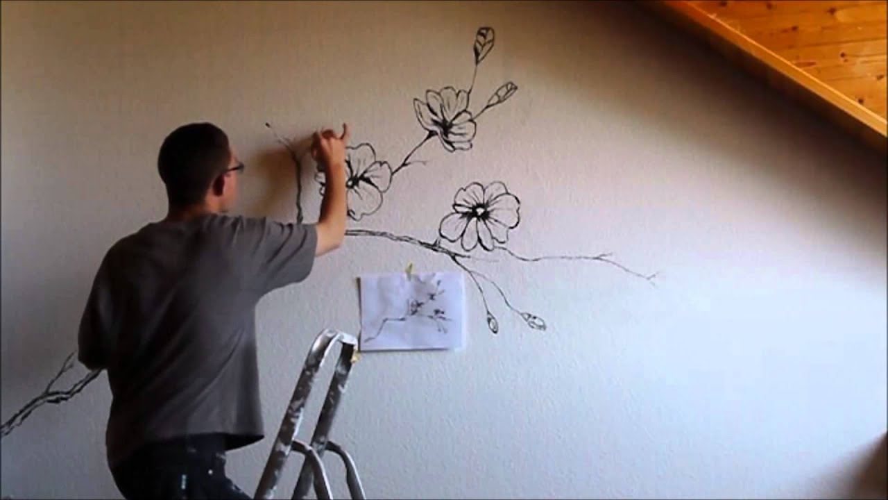 Ideas For Painting A Bedroom Sakura Flower Mural Wall Painting Youtube