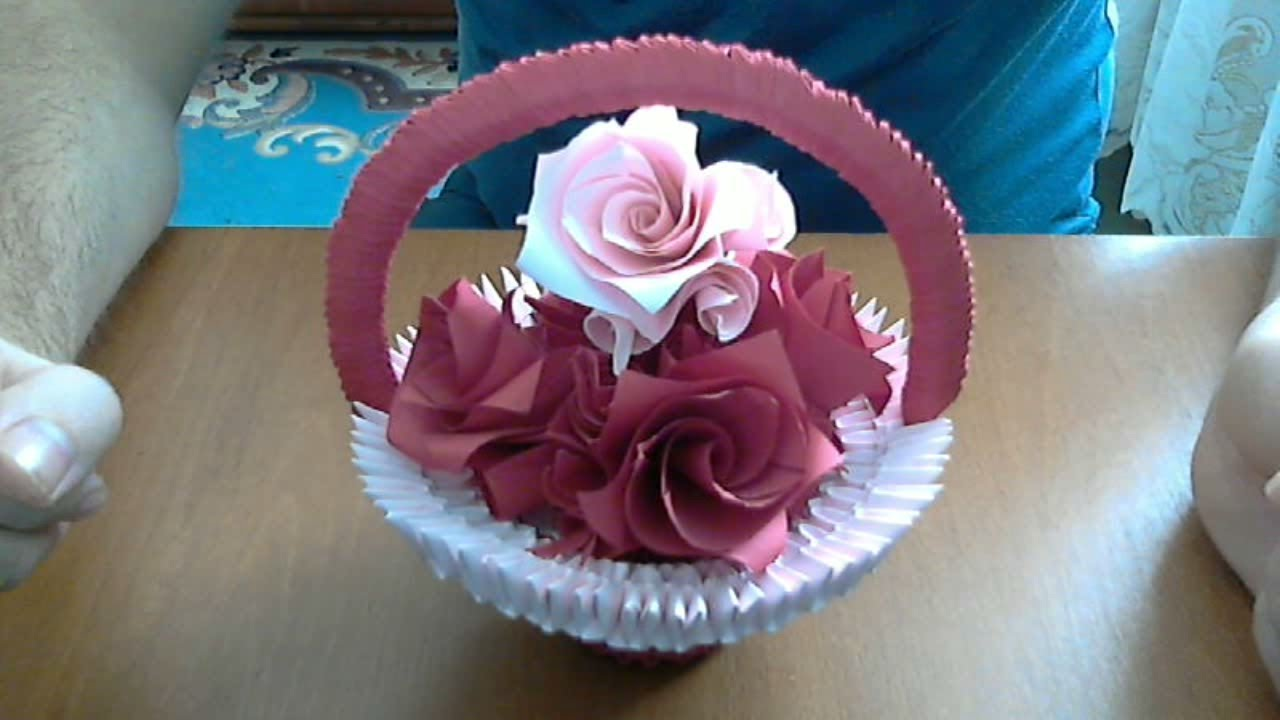 How To Make 3d Origami Basket With Flowers Model 2