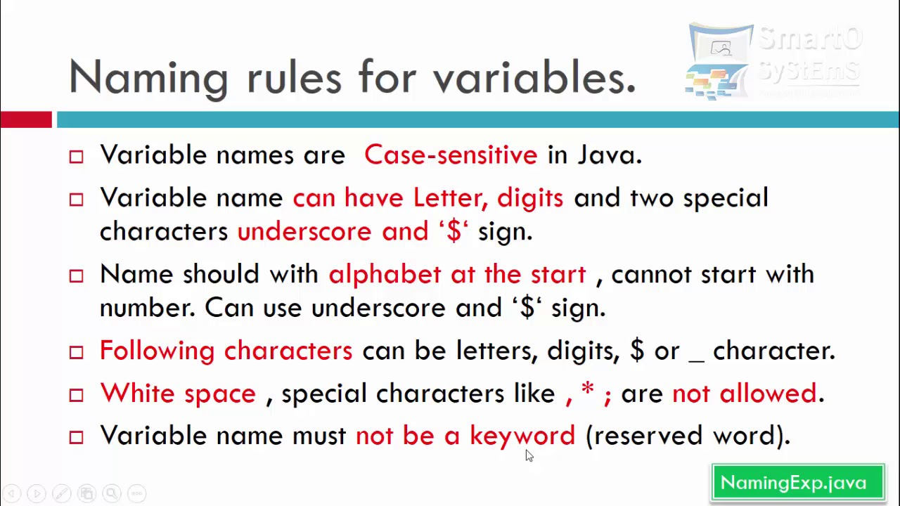 Naming Convention: Variable Naming Conventions In Java
