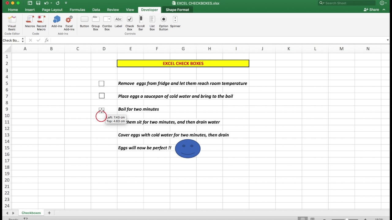 How To Easily Insert Check Tick Boxes In Excel 2016 For Mac And
