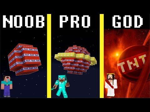 Minecraft Noob vs Pro vs Hacker vs God: TNT PLANET challenge - funny Minecraft battle thumbnail