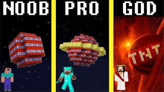 Minecraft Noob vs Pro vs Hacker vs God: TNT PLANET challenge - funny Minecraft battle