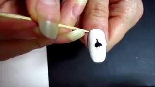 Простой рисунок на ногтях,Череп 2