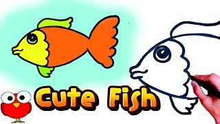 how to draw cute fish step by step for kids easy turtorial/How to Draw a Cartoon Fish Cute and Easy