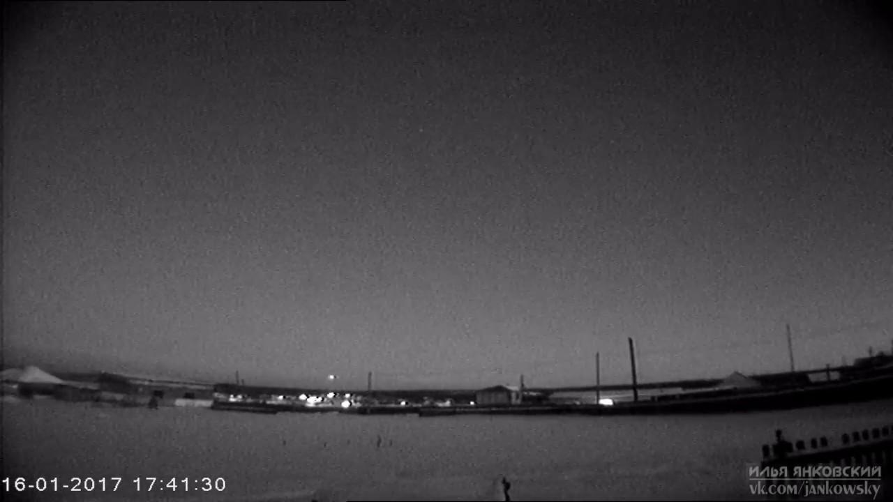 Яркий метеор над Западной Сибирью 16 января 2017 года