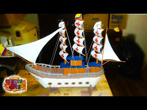 Como hacer un barco Pirata de carton / How to make a boat /CUARTO DE ARTE