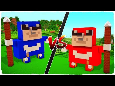 👉 Casa de UGANDA KNUCKLES vs casa de UGANDA SONIC - MINECRAFT - Do you know da wae?