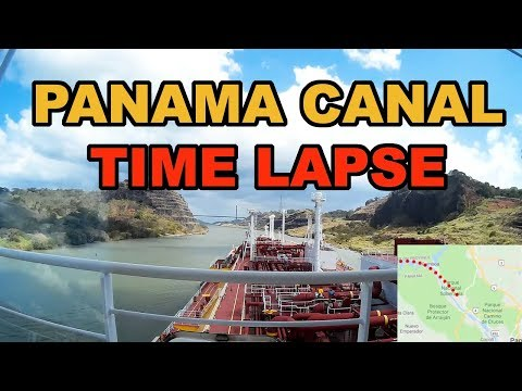 Time lapse of an LNG carrier passing through the Panama canal.