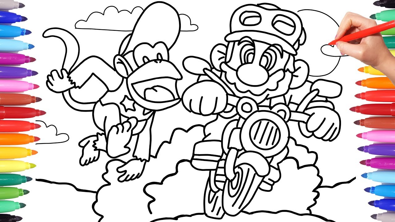 Nintendo Mario and Diddy Kong Coloring Pages for Kids ...