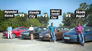 Hyundai Verna vs Honda City vs Maruti Ciaz vs Skoda Rapid: Who's The King?