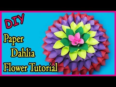 DIY | Paper Dahlia Flower Tutorial | Wedding Backround Flowers Toturial