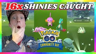 16x SHINY POKEMON CAUGHT during DECEMBER COMMUNITY DAY EVENT in Pokemon Go!