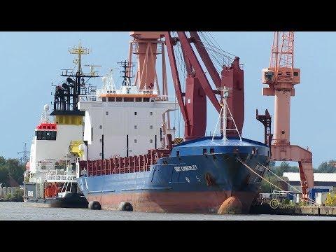 cargo 2 crane seaship BBC KIMBERLEY V2ED5 IMO 9407586 Emden geared merchant vessel Kranschiff