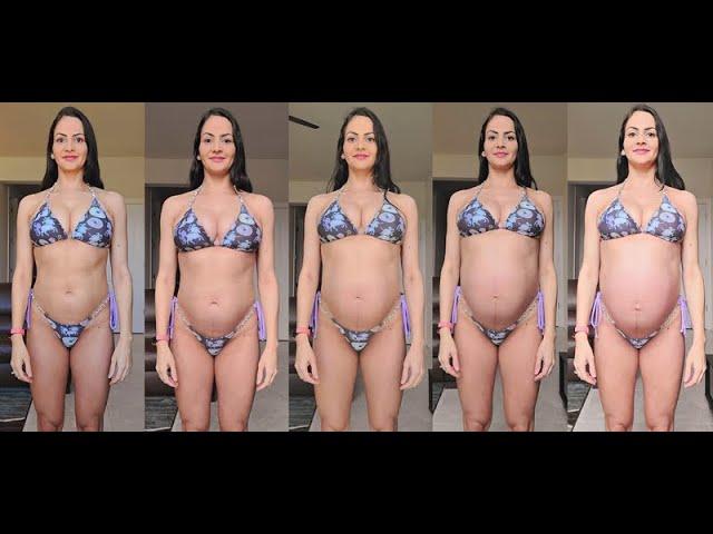 EVOLUÇÃO DO MEU FÍSICO COM FOTOS E MEDIDAS - 9 meses de gravidez!