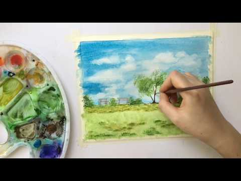 Watercolor Painting Simple and Easy Landscape For Beginners水彩画
