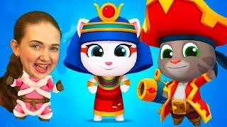 Веселые соревнования в игре Кот Том всплеск силы! Кто сильнее   Папа или Мама от Каталекс!