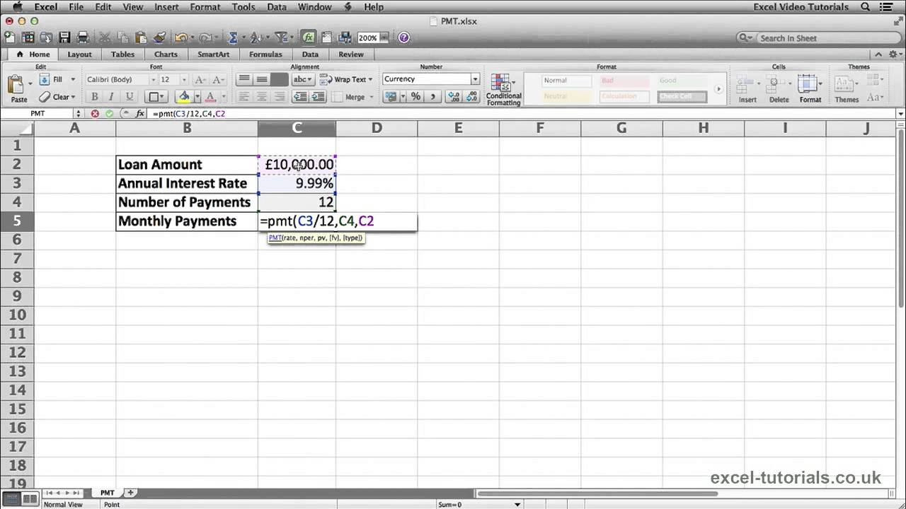 Microsoft Excel Tutorial: PMT Function - YouTube