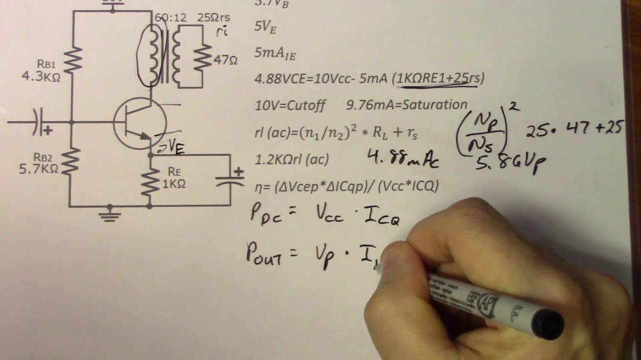 34 Transformer Coupled Class A Amplifiers Youtube B Amplifier Circuit Diagram