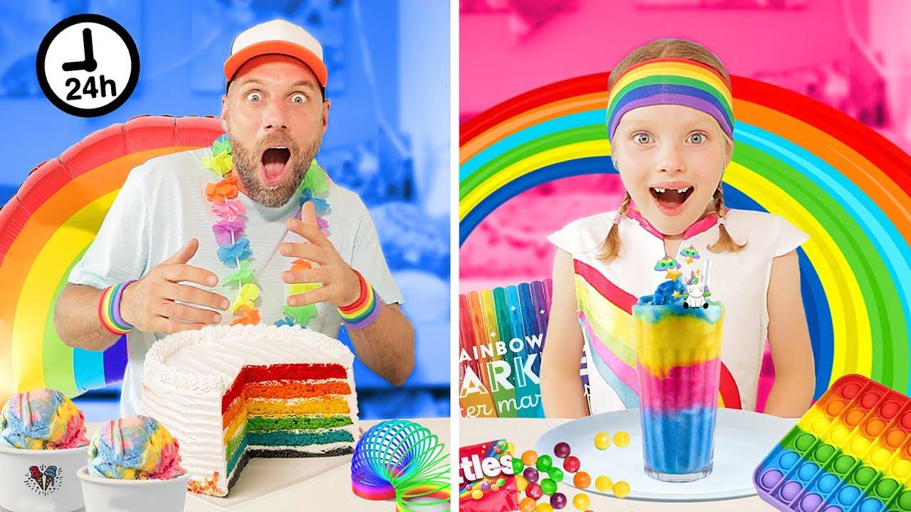 24 UUR ALLES IN REGENBOOG KLEUREN DOEN - CHALLENGE!! [Rainbow Color Challenge] ♥DeZoeteZusjes♥