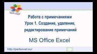 """Видеоурок """"Как сделать примечания к ячейке в Excel? Создание, удаление и редактирование примечанийl"""""""