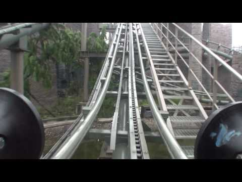 Dragon in Snowfield Vekoma Mine Train Roller Coaster POV Front Seat Happy Valley Chengdu China
