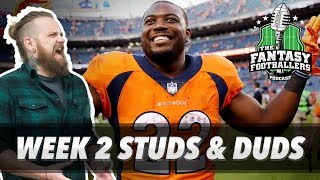 Fantasy football 2017 - week 2 studs & duds, rising stars, eulogies - ep. #438