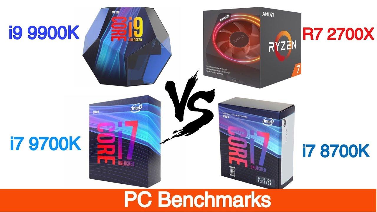 Intel i9 9900K vs I7 9700K Vs i7 8700k Vs Ryzen 7 2700X Featuring Nvidia  RTX 2080 Ti