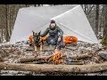 Overnight winter bushcraft camp with a dog under a white tarp mp3