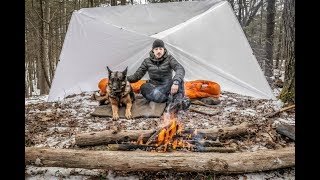 Overnight Winter Bushcraft Camp with a Dog under a White Tarp.