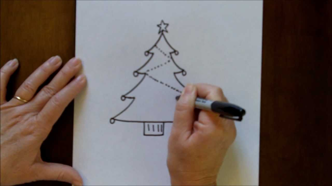 How To Draw A Christmas Tree Simple Drawing Tutorial For Beginners Youtube