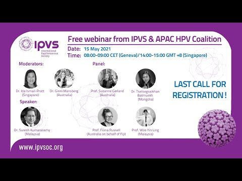 IPVS Webinar: Cervical cancer vaccination and screening in the Asia Pacific during the pandemic
